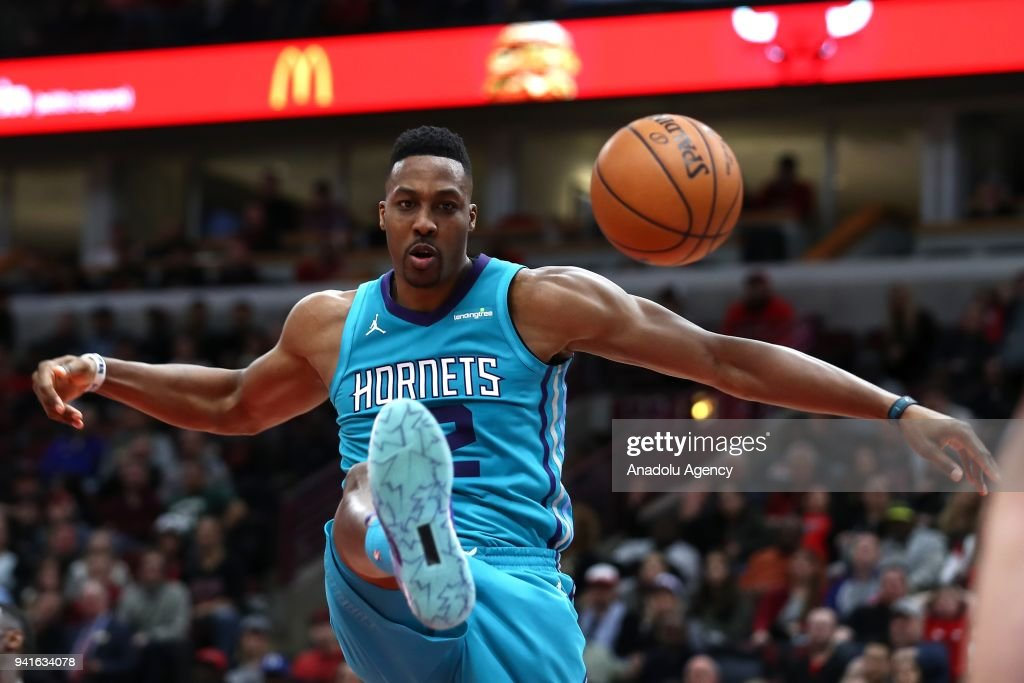 Dwight Howard (12) of Charlotte Hornets in action during the NBA match between Chicago Bulls and Charlotte Hornets at United Center in Chicago, USA on April 3, 2018.
