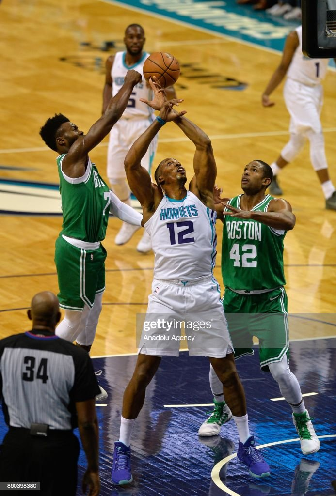 Dwight Howard of Charlotte Hornets looses the ball during the NBA match between Boston Celtics vs Charlotte Hornets at the Spectrum arena in Charlotte, NC, United States on October 11, 2017.