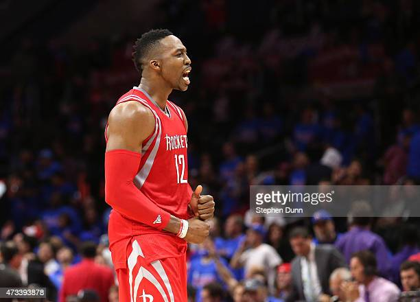 Dwight Howard of he Houston Rockets celebrates after defeating the Los Angeles Clippers during Game Six of the Western Conference semifinals of the...