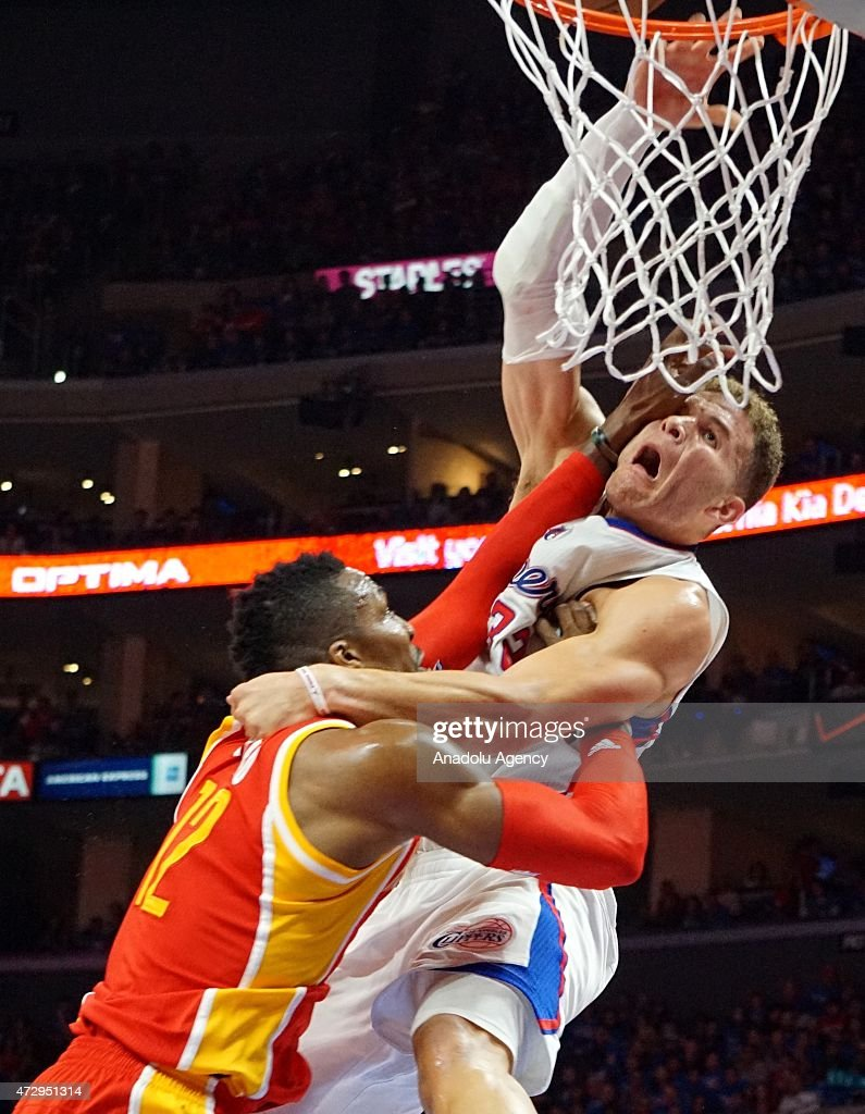 Dwight Howard of Houston Rockets (L) and Blake Griffin of Clippers (R) in action during the NBA playoff game between Houston Rockets and Los Angeles Clippers at the Stapless Center, Los Angeles on May 10, 2015.