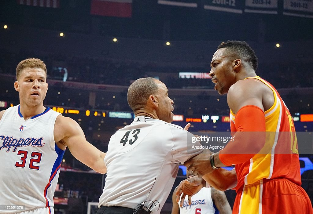 Dwight Howard of Houston Rockets (R) seen during the NBA playoff game between Houston Rockets and Los Angeles Clippers at the Stapless Center, Los Angeles on May 10, 2015.