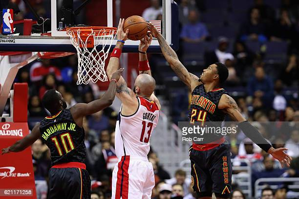 Dwight Howard of the Atlanta Hawks blocks a shot by Marcin Gortat of the Washington Wizards in the second half at Verizon Center on November 4 2016...