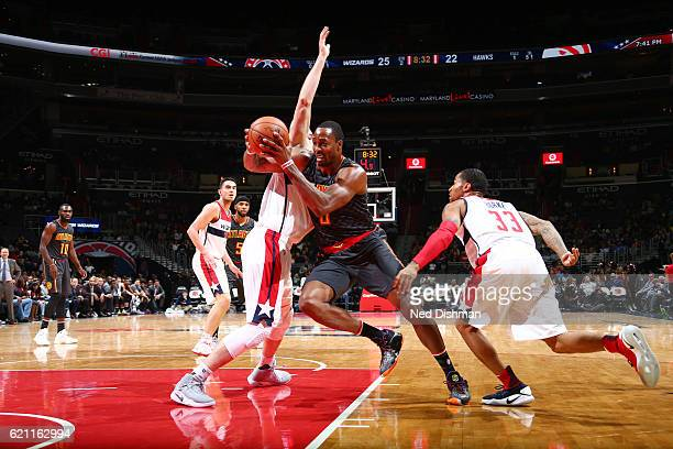 Dwight Howard of the Atlanta Hawks drives to the basket during a game against the Washington Wizards on November 4 2016 at the Verizon Center in...