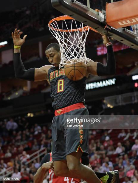 Dwight Howard of the Atlanta Hawks dunks the ball in the first half against the Houston Rockets at Toyota Center on February 2 2017 in Houston Texas...