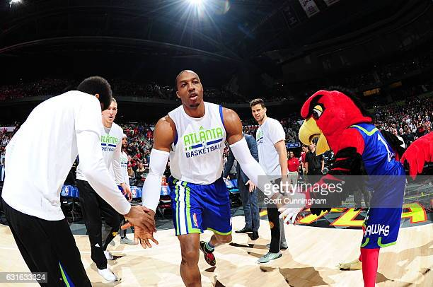 Dwight Howard of the Atlanta Hawks gets introduced before the game against the Boston Celtics on January 13 2017 at Philips Arena in Atlanta Georgia...