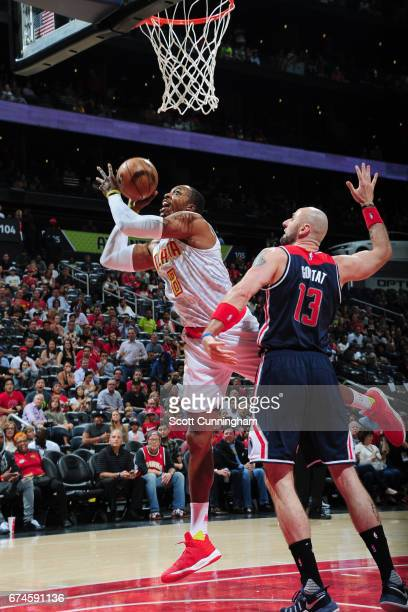 Dwight Howard of the Atlanta Hawks goes to the basket against the Washington Wizards during Game Six of the Eastern Conference Quarterfinals of the...