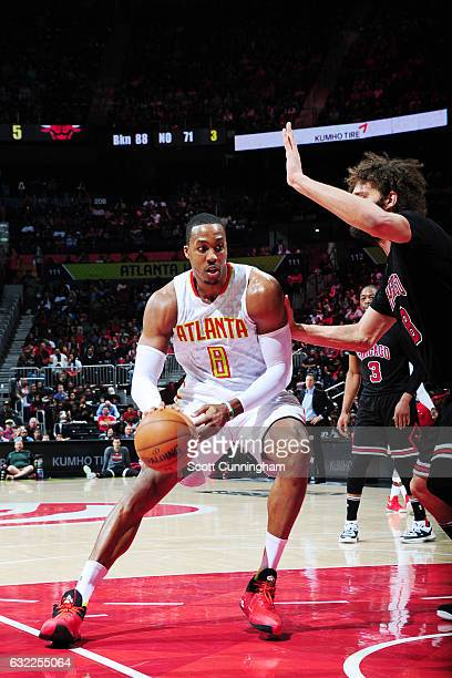 Dwight Howard of the Atlanta Hawks handles the ball against the Chicago Bulls during the game on January 20 2017 at Philips Arena in Atlanta Georgia...