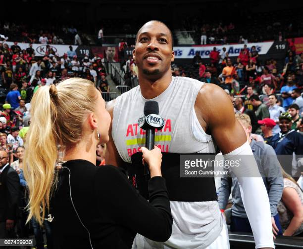 Dwight Howard of the Atlanta Hawks is interviewed after defeating the Charlotte Hornets on April 11 2017 at Philips Arena in Atlanta Georgia NOTE TO...