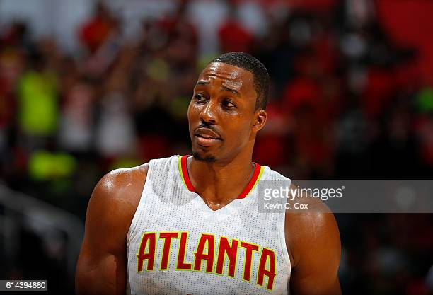 Dwight Howard of the Atlanta Hawks looks on during the game against the Atlanta Hawks at Philips Arena on October 13 2016 in Atlanta Georgia NOTE TO...