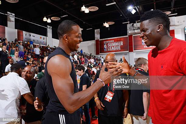 Dwight Howard of the Atlanta Hawks shakes hands with Clint Capela of the Houston Rockets during the 2016 NBA Las Vegas Summer League game on July 8...