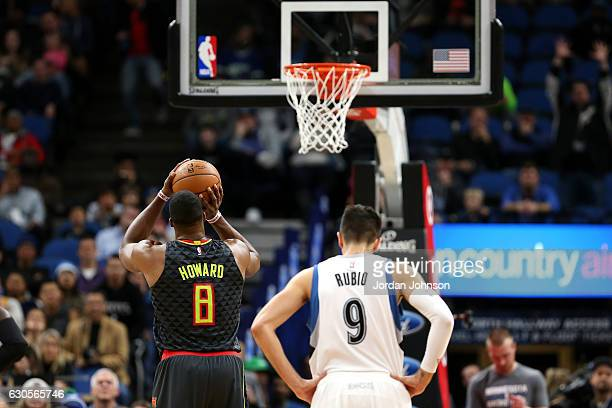 Dwight Howard of the Atlanta Hawks shoots a free throw during the game against the Minnesota Timberwolves on December 26 2016 at Target Center in...