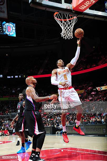 Dwight Howard of the Atlanta Hawks shoots the ball against the LA Clippers during the game on January 23 2017 at Philips Arena in Atlanta Georgia...