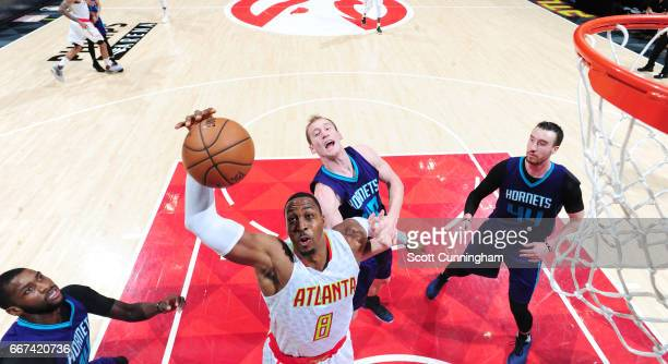 Dwight Howard of the Atlanta Hawks shoots the ball against the Charlotte Hornets during the game on April 11 2017 at Philips Arena in Atlanta Georgia...