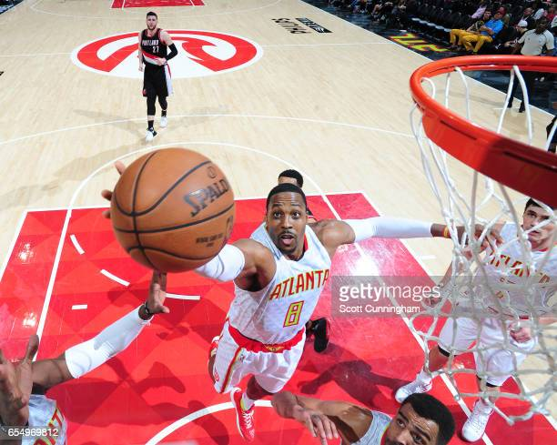 Dwight Howard of the Atlanta Hawks shoots the ball against the Portland Trail Blazers during the game on March 18 2017 at Philips Arena in Atlanta...