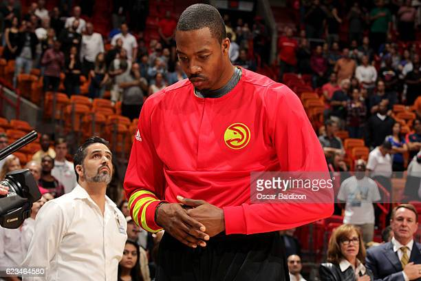 Dwight Howard of the Atlanta Hawks stands for a moment of silence for the National Anthem before the game against the Miami Heat on November 15 2016...