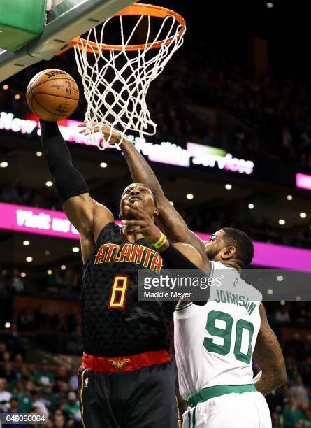 Dwight Howard of the Atlanta Hawks takes a shot against Amir Johnson of the Boston Celtics during the third quarter at TD Garden on February 27 2017...