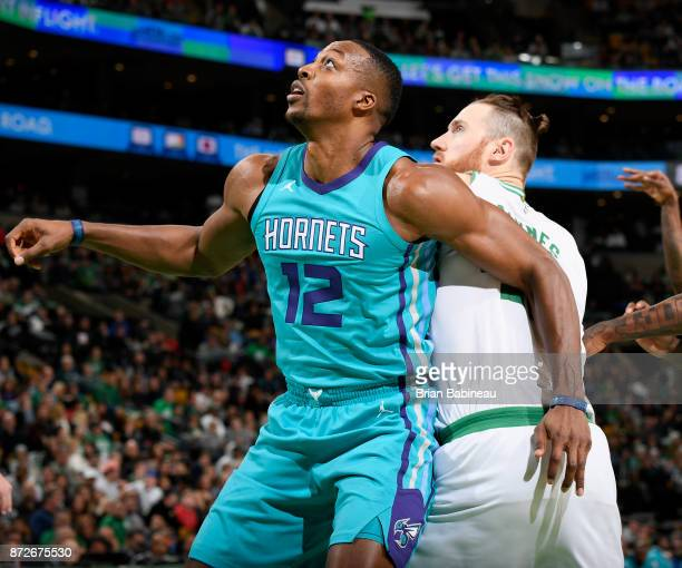 Dwight Howard of the Charlotte Hornets boxes out against the Boston Celtics on November 10 2017 at the TD Garden in Boston Massachusetts NOTE TO USER...
