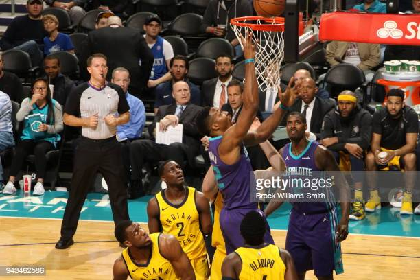 Dwight Howard of the Charlotte Hornets dunks against the Indiana Pacers on April 8 2018 at Spectrum Center in Charlotte North Carolina NOTE TO USER...