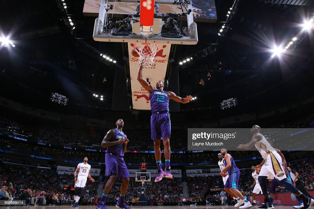 Dwight Howard #12 of the Charlotte Hornets goes to the basket against the New Orleans Pelicans on March 13, 2018 at Smoothie King Center in New Orleans, Louisiana.