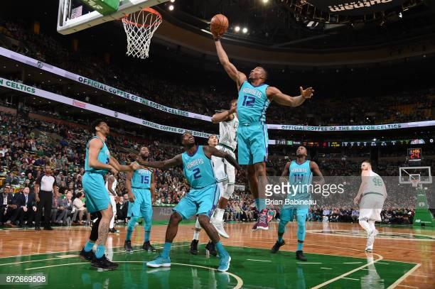 Dwight Howard of the Charlotte Hornets grabs the rebound against the Boston Celtics on November 10 2017 at the TD Garden in Boston Massachusetts NOTE...