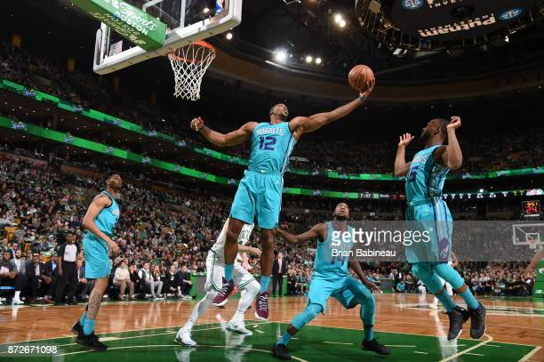 Dwight Howard of the Charlotte Hornets grabs the rebound against the Boston Celtics on November 10 2017 at the TD Garden in Boston Massachusetts NOTE...