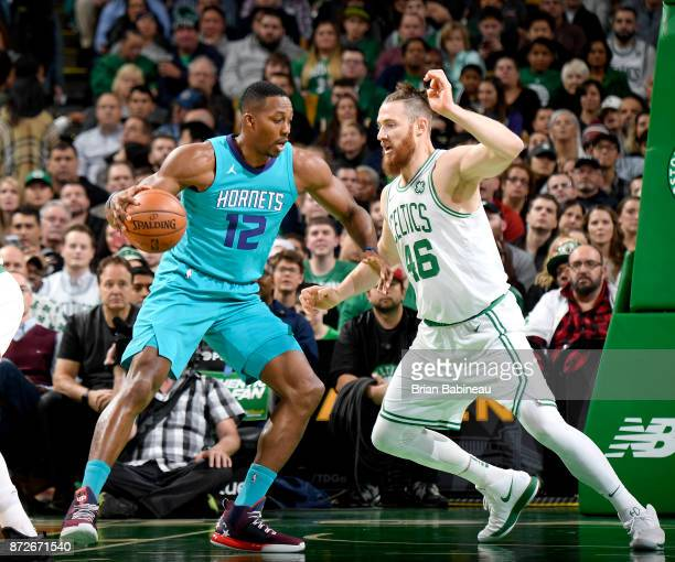 Dwight Howard of the Charlotte Hornets handles the ball against the Boston Celtics on November 10 2017 at the TD Garden in Boston Massachusetts NOTE...