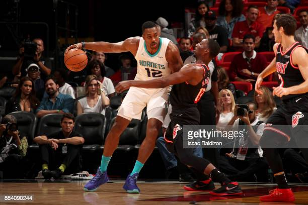 Dwight Howard of the Charlotte Hornets handles the ball against the Miami Heat on December 1 2017 at American Airlines Arena in Miami Florida NOTE TO...
