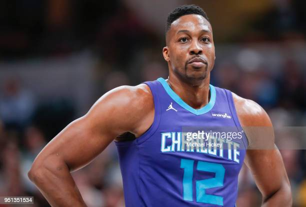 Dwight Howard of the Charlotte Hornets is seen during the game against the Indiana Pacers at Bankers Life Fieldhouse on April 10 2018 in Indianapolis...