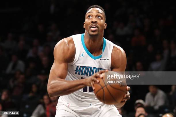 Dwight Howard of the Charlotte Hornets looks to take a shot against the Brooklyn Nets in the fourth quarter during their game at Barclays Center on...