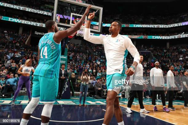 Dwight Howard of the Charlotte Hornets makes his entrance before the game against the Phoenix Suns on March 10 2018 at Spectrum Center in Charlotte...