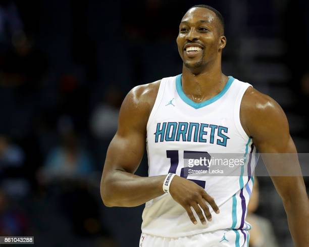 Dwight Howard of the Charlotte Hornets reacts after a play during their game against the Dallas Mavericks at Spectrum Center on October 13 2017 in...