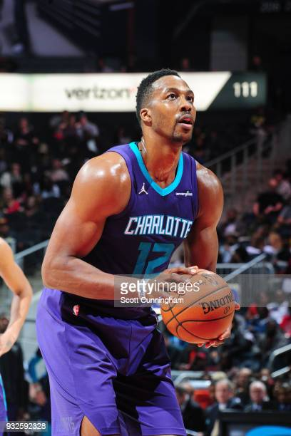 Dwight Howard of the Charlotte Hornets shoots a free throw against the Atlanta Hawks on March 15 2018 at Philips Arena in Atlanta Georgia NOTE TO...