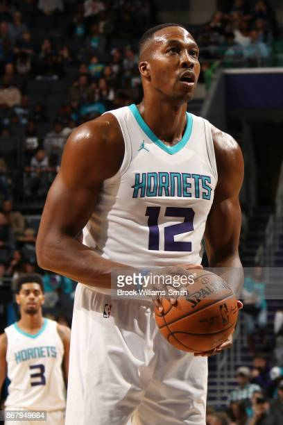 Dwight Howard of the Charlotte Hornets shoots a free throw during the game against the Orlando Magic on October 29 2017 at Spectrum Center in...