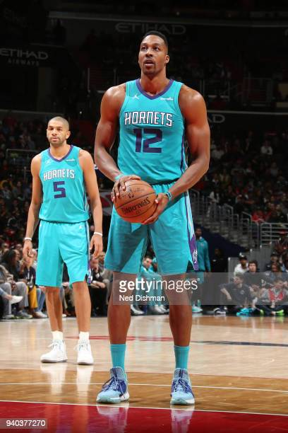 Dwight Howard of the Charlotte Hornets shoots a free throw during the game against the Washington Wizards on March 31 2018 at the Capital One Arena...