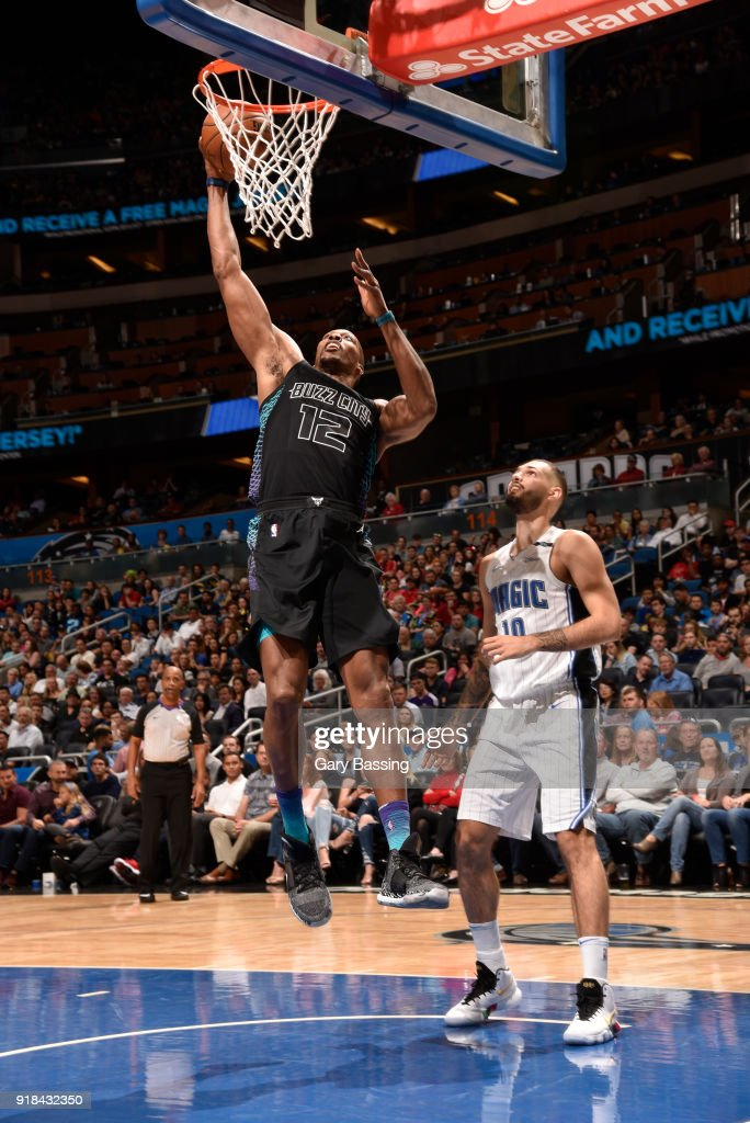 Dwight Howard #12 of the Charlotte Hornets shoots the ball against the Orlando Magic on February 14, 2018 at Amway Center in Orlando, Florida.