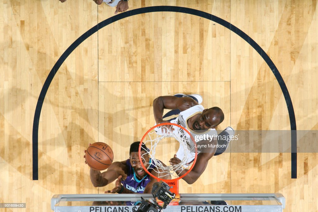 Dwight Howard #12 of the Charlotte Hornets shoots the ball against the New Orleans Pelicans on March 13, 2018 at Smoothie King Center in New Orleans, Louisiana.