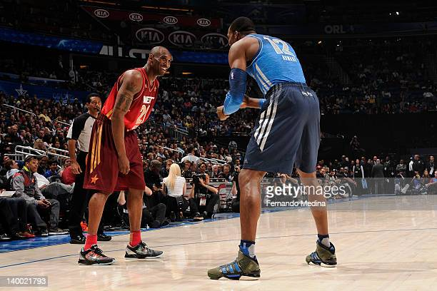 Dwight Howard of the Eastern Conference AllStars messes around with Kobe Bryant of the Western Conference AllStars during the 2012 NBA AllStar Game...