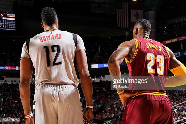Dwight Howard of the Houston Rockets and LeBron James of the Cleveland Cavaliers during the game on January 15 2016 at Toyota Center in Houston Texas...