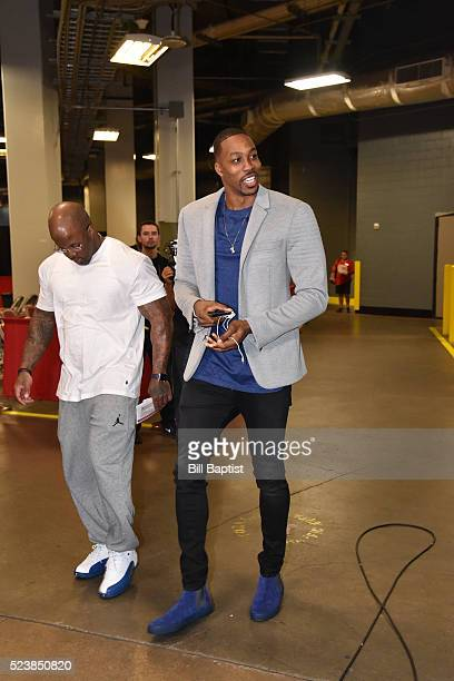 Dwight Howard of the Houston Rockets arrives before Game Four of the Western Conference Quarterfinals against the Golden State Warriors during the...