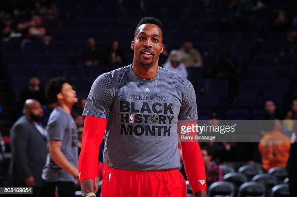 Dwight Howard of the Houston Rockets before the game against the Phoenix Sunson February 4 2016 at Talking Stick Resort Arena in Phoenix Arizona NOTE...