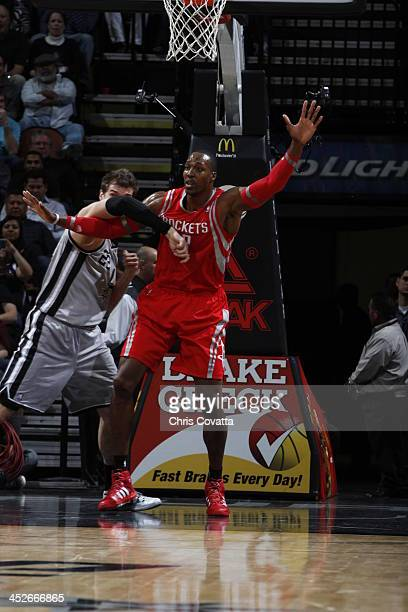 Dwight Howard of the Houston Rockets calls for the ball during the game against the San Antonio Spurs on November 30 2013 at the ATT Center in San...