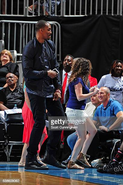 Dwight Howard of the Houston Rockets dances with fans during a time out at the Washington Mystics game against the Atlanta Dream on June 5 2016 at...