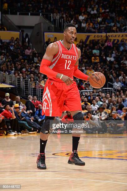 Dwight Howard of the Houston Rockets dribbles the ball against the Los Angeles Lakers on January 17 2016 at STAPLES Center in Los Angeles California...