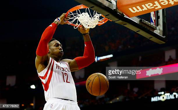 Dwight Howard of the Houston Rockets dunks against the Los Angeles Clippers in the second quarter during Game Seven of the Western Conference...