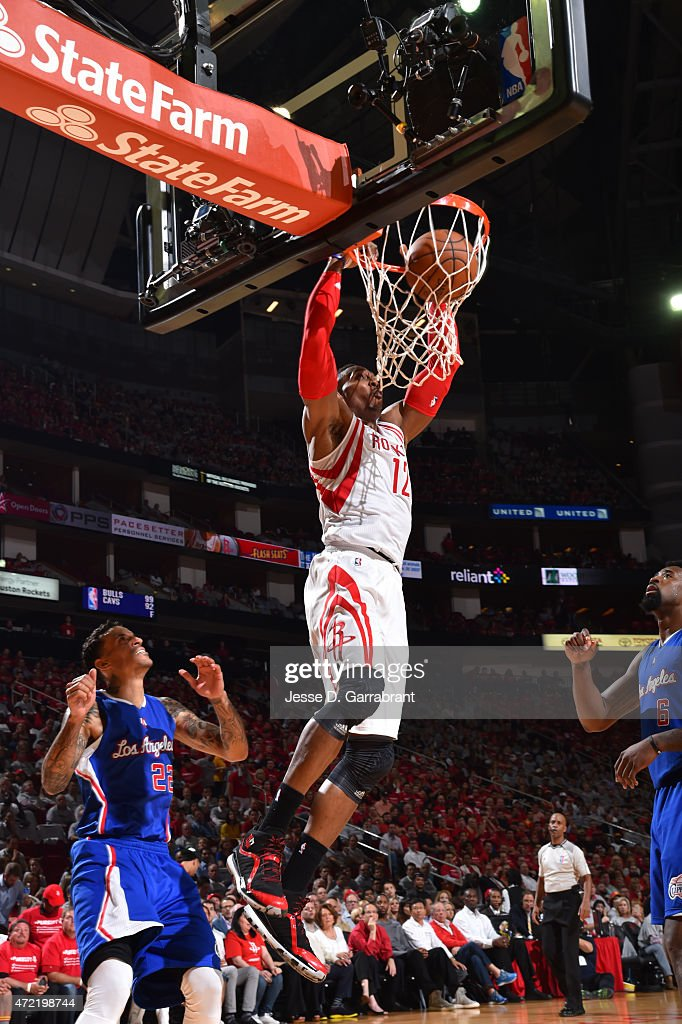 Dwight Howard #12 of the Houston Rockets dunks the ball against the Los Angeles Clippers at the Toyota Center During Game One of the Western Conference Semifinals during the 2015 NBA Playoffs on May 4, 2015 in Houston,Texas