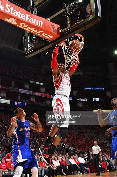 Dwight Howard of the Houston Rockets dunks the ball against the Los Angeles Clippers at the Toyota Center During Game One of the Western Conference...