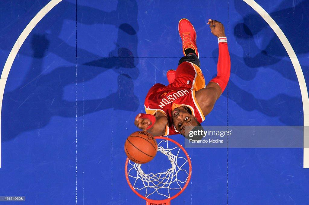 Dwight Howard #12 of the Houston Rockets goes up for a shot against the Orlando Magic during the game on January 14, 2015 at Amway Center in Orlando, Florida.