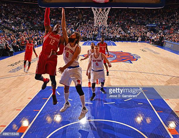 Dwight Howard of the Houston Rockets goes up for the layup against the New York Knicks at Madison Square Garden on November 29 2015 in New YorkNew...