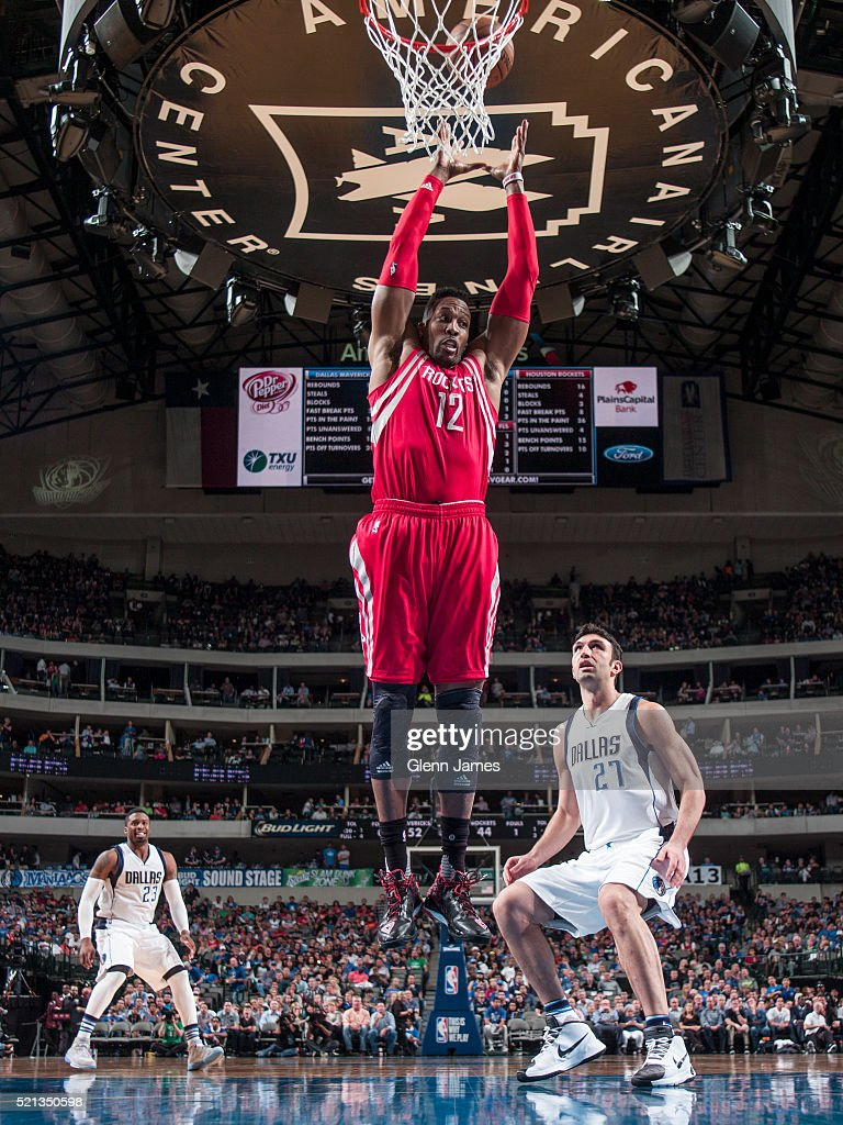 Dwight Howard #12 of the Houston Rockets grabs the rebound against the Dallas Mavericks on April 6, 2016 at the American Airlines Center in Dallas, Texas.