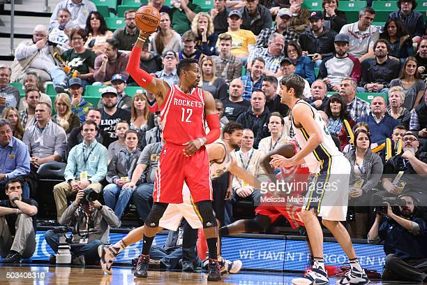 Dwight Howard of the Houston Rockets handles the ball against the Utah Jazz on January 4 2016 at vivintSmartHome Arena in Salt Lake City Utah NOTE TO...